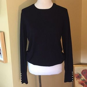 ZARA Knit sz XL Crewneck PEARLS at cuff $78 new